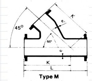 ALL FLANGE ANGLE BRANCH TEE  type M