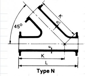 ALL FLANGE ANGLE BRANCH TEE  type N